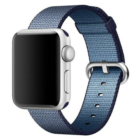 Curea iUni compatibila cu Apple Watch 1/2/3/4/5/6, 38mm, Nylon, Woven Strap, Midnight Blue